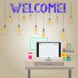 Handwriting text writing Welcome. Concept meaning Warm salutation acknowledgement for someone amiable loved thanked. Handwriting text writing Welcome. Conceptual royalty free illustration