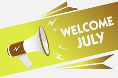 Handwriting text writing Welcome July. Concept meaning Calendar Seventh Month 31days Third Quarter New Season Megaphone loudspeake. R speech bubble important vector illustration