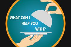 Handwriting text writing What Can I Help You Withquestion. Concept meaning Offering support assistance guidance Hu. Analysis Hands Serving Tray Platter and stock illustration