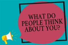 Handwriting text writing What Do People Think About You question. Concept meaning Opinion of others Considerations Megaphone louds