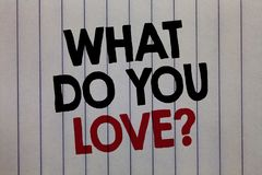 Handwriting text writing What Do You Love question. Concept meaning Enjoyable things passion for something inspiration white verti. Cal paper written three words royalty free stock photography