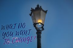 Handwriting text writing What Do You Want To Change Question. Concept meaning Strategy Planning Decision Objective Light post blue. Sky enlighten ideas message royalty free stock photos