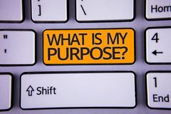 Handwriting text writing What Is My Purpose Question. Concept meaning Direction Importance Discernment Reflection Silver color pol. Ished modern computer stock photos