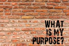 Handwriting text writing What Is My Purposequestion. Concept meaning Direction Importance Discernment Reflection Brick. Handwriting text writing What Is My stock images