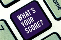Handwriting text writing What S Your Score. Concept meaning Personal grade rating on a competition game or study. Handwriting text writing What S Your Score royalty free stock photography