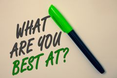 Handwriting text writing What Are You Best At Question. Concept meaning Individual creativity is a unique capability Ideas message. Beige background green pen stock images