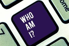 Handwriting text writing Who Am Iquestion. Concept meaning Selfconsciousness own demonstratingality identity character. Handwriting text writing Who Am Iquestion royalty free stock photography