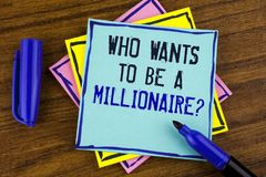 Handwriting text writing who Wants To Be A Millionaire Question. Concept meaning Earn more money applying knowledge written on Sti. Handwriting text writing who Royalty Free Stock Photography