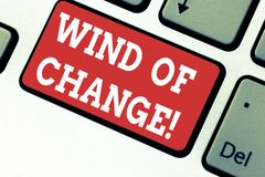 Handwriting text writing Wind Of Change. Concept meaning Changing time growing up doing things in a different way royalty free stock photos