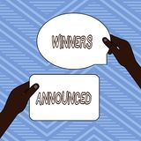 Handwriting text writing Winners Announced. Concept meaning Announcing who won the contest or any competition Two Blank. Handwriting text writing Winners stock illustration
