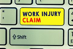 Handwriting text writing Work Injury Claim. Concept meaning Medical care reimbursement Employee compensation.  royalty free stock photos