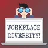 Handwriting text writing Workplace Diversity. Concept meaning Different race gender age sexual orientation of workers. Handwriting text writing Workplace stock illustration