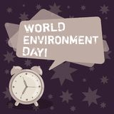 Handwriting text writing World Environment Day. Concept meaning awareness and the protection of our environment Blank Rectangular. Color Speech Bubble Overlay stock illustration