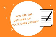 Handwriting text writing You Are The Designer Of Your Own Destiny. Concept meaning Embrace life Make changes Sheet of Pad Paper. With Lines and Margin Ballpoint stock illustration
