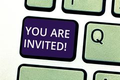 Handwriting text writing You Are Invited. Concept meaning Receiving and invitation for an event Join us to celebrate