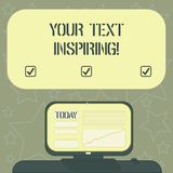 Handwriting text writing Your Text Inspiring. Concept meaning words make you feel exciting and strongly enthusiastic. Mounted Computer Screen with Line Graph on royalty free illustration