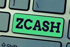 Handwriting text writing Zcash. Concept meaning cryptocurrency with decentralized blockchain that provides anonymity.  stock image