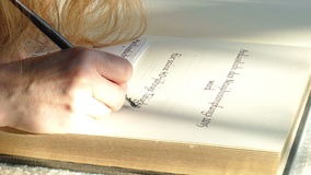 Handwriting. A text is written with a pen and ink stock video