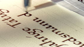 Handwriting. A text is written with a pen and ink stock video footage