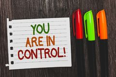 Handwriting text You Are In Control. Concept meaning Responsibility over a situation Management authority Colorful words with whit stock images