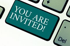 Handwriting text You Are Invited. Concept meaning Receiving and invitation for an event Join us to celebrate Keyboard