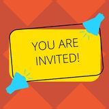 Handwriting text You Are Invited. Concept meaning Receiving and invitation for an event Join us to celebrate Two