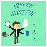 Handwriting text You Re Invited. Concept meaning You are happily encouraged to attend and event or a party Stressed Out. Handwriting text You Re Invited royalty free illustration