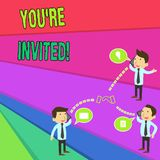 Handwriting text You Re Invited. Concept meaning make a polite friendly request to someone go somewhere Businessmen. Handwriting text You Re Invited. Conceptual stock illustration