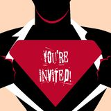 Handwriting text You Re Invited. Concept meaning make a polite friendly request to someone go somewhere Man in Superman. Handwriting text You Re Invited vector illustration