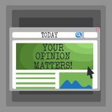 Handwriting text Your Opinion Matters. Concept meaning show you do not agree with something that just been said Blank. Handwriting text Your Opinion Matters vector illustration