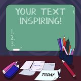 Handwriting text Your Text Inspiring. Concept meaning words make you feel exciting and strongly enthusiastic Mounted. Blank Color Blackboard with Chalk and stock illustration