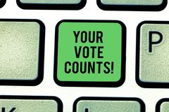 Handwriting text Your Vote Counts. Concept meaning Make an election choose whoever you think is better Keyboard key royalty free stock photo