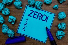 Handwriting text Zero Motivational Call. Concept meaning The emptiness nothingness of something no value Cyan paper imagination id. Ea thoughts mistakes several Stock Images