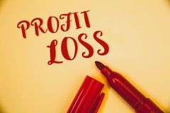 Handwriting text Profit Loss. Concept meaning Financial year end account contains total revenues and expensesIdeas messages words. Handwriting texts Profit Loss royalty free stock photo