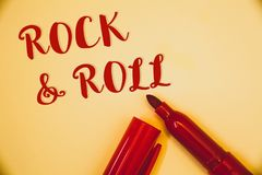 Handwriting text Rock and Roll. Concept meaning Musical Genre Type of popular dance music Heavy Beat SoundIdeas messages words red. Handwriting texts Rock and royalty free stock photos
