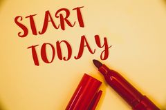 Handwriting text Start Today. Concept meaning Initiate Begin right now Inspirational Motivational phraseIdeas messages words red l. Handwriting texts Start Today royalty free stock photos