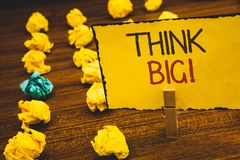 Handwriting text Think Big Motivational Call. Concept meaning Have great ideas Dream of something amazingClothespin holding Yellow. Handwriting texts Think Big Royalty Free Stock Photography