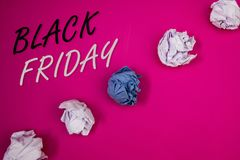 Handwriting text writing Black Friday. Concept meaning Special sales after Thanksgiving Shopping discounts Clearance. Handwriting texts writing Black Friday Royalty Free Stock Photography