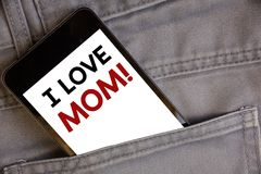 Handwriting text writing I Love Mom Motivational Call. Concept meaning Good feelings for their own mother TendernessConcept on cel. Handwriting texts writing I stock photos