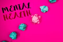 Handwriting text writing Mental Health. Concept meaning Psychological and Emotional Condition Wellbeing of a person. Handwriting texts writing Mental Health royalty free stock photography
