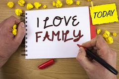 Handwriting text writing I Love Family. Concept meaning Good feelings Affection Carefulness for your mother father. Handwriting textss writing I Love Family stock photography
