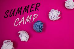 Handwriting text writing Summer Camp. Concept meaning Place in country where children make activities during holidays. Handwriting textss writing Summer Camp Stock Photo