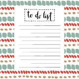 Handwriting To Do List. Vector cute blank with lettering Stock Photos