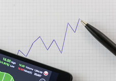 Handwriting up trend chart on graph paper with black pen and smartphone opening online stock trading application. Close up Stock Photos
