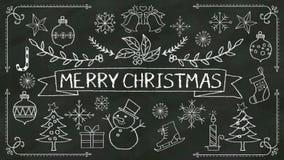 Handwriting 'Wesoło boże narodzenia przy chalkboard z różnorodną grafiką ilustracji