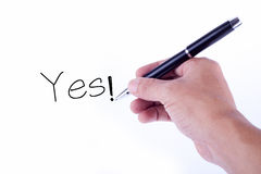 Handwriting in white background. Yes handwriting in white background Royalty Free Stock Photos