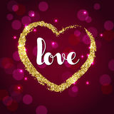 Handwriting word love and golden glitter heart on burgundy background. Stock Photography