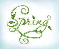 Natural green calligraphic word spring Royalty Free Stock Photography