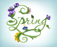 Natural green calligraphic word spring with flowers. Handwriting word spring made of green stem with leaves and colorful flowers royalty free illustration