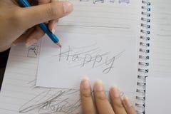 Handwriting Words Feelings Not Happy Royalty Free Stock Photos